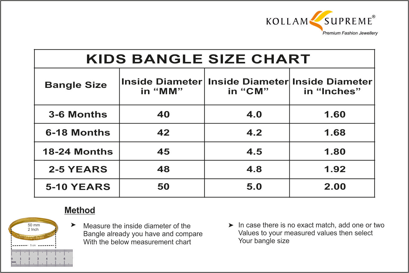 Kids bangle size chart