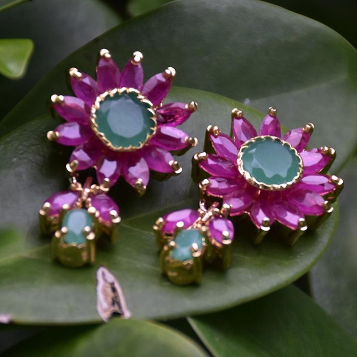 Ruby Emerald Studs